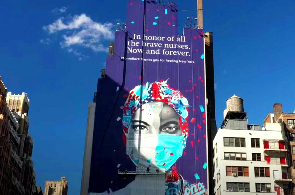 Quảng cáo ngoài trời tôn vinh những y tá ở tuyến đầu chống dịch thế giới