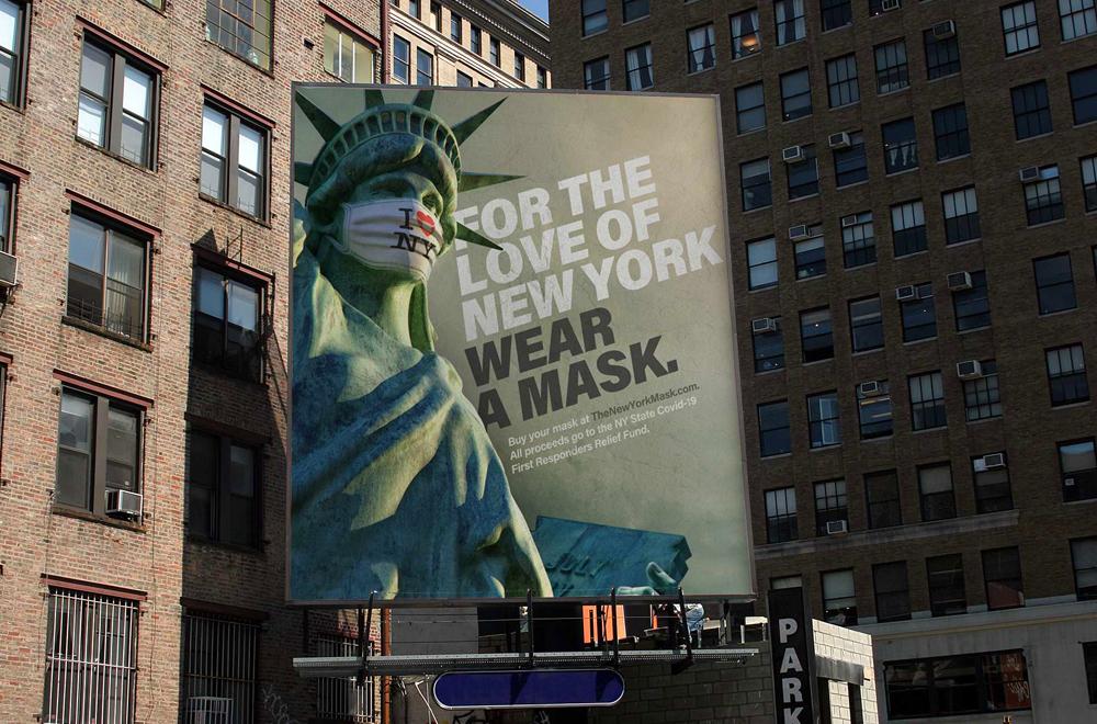 Biển quảng cáo ngoài trời tấm lớn thời kỳ COVID-19 ở New York